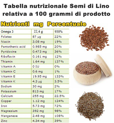 Tabella nutrizionale Semi di Lino