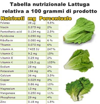 Tabella nutrizionale Lattuga