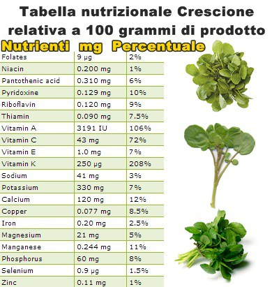 Tabella nutrizionale Crescione