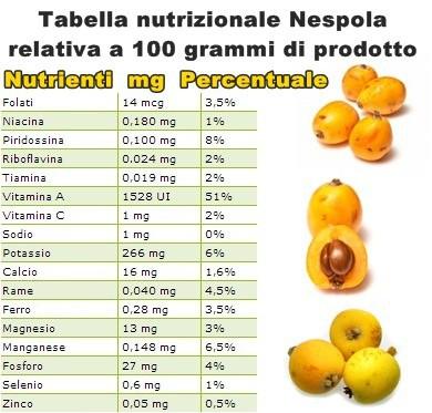 Tabella nutrizionale Nespola