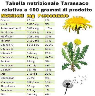 Tabella nutrizionale Tarassaco