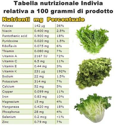Tabella nutrizionale indivia riccia